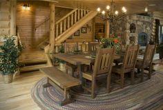 bench, cabin life, log cabins