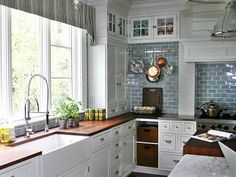 butcher blocks, kitchen idea, dream, blue kitchens, farmhouse sinks, subway tiles, white cabinets, farm sink, white kitchens
