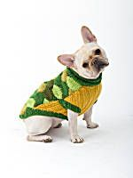 The leafy colors of this knit sweater will have your dog looking bright and happy during those cold winter walks.