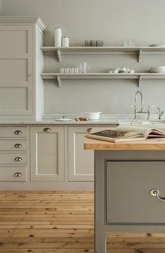 plain english kitchen, open shelv, kitchen plain english, cabinet colors, kitchen colors, pine floors kitchen, kitchen oak floor, hous, kitchen cabinets