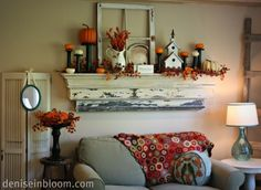 Love this...the mantle, the window frame, the shutters and old ladder...would replace the pumpkins and fall flowers each season...