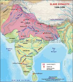 The Slave Dynasty was founded by Qutub-ud-din Aibak. This map shows  the Slave Dynasty or Mamluk Sultanate with Capital and current country boundaries. Slave Empires existed from 1206 to 1290.