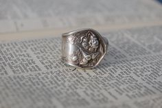 Upcycled Silver plated Antique flatware RING sz 5-6.5