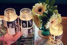 DIY Yearbook Votives...great idea for a graduation party or high school reunion.