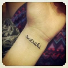 """Placement is on my left wrist. It says """"meraki"""" which is a word that modern Greeks often use to describe doing something with soul, creativity, or love —when you put """"something of yourself"""" into what you're doing, whatever it may be.  Done by Isaac Johnson at Branded Man Tattoo."""