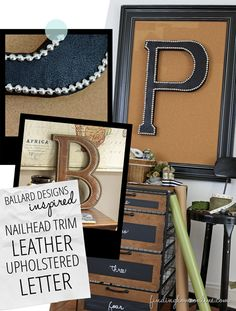 Nailhead Trim Leather Upholstered Letter
