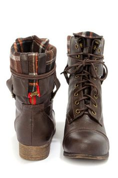 Cute Combat Boots - Brown Boots - Lace-Up Boots - $47.00