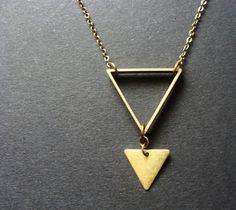 Brass Triangle Necklace Minimalist arrow raw industrial by aptoArt, $24.00