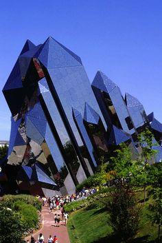 crystal building, Kinemax at Futurescope amusement park, France.