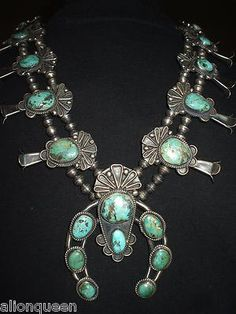 MAJESTIC Vintage NAVAJO Sterling Silver CARICO TURQUOISE Squash BLOSSOM NECKLACE