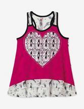 Beautees Pink & Black Giraffe Heart Print Tank Top – Girls 7-16