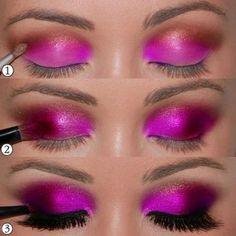step by step pink smokey eyeshadow- pink,red,brown,back---faded