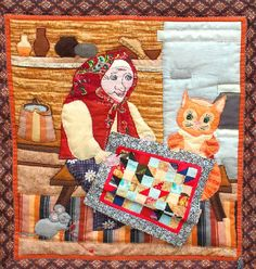 'Needlewoman' Russian patchwork quilt.  Folk art style with cat and mouse.
