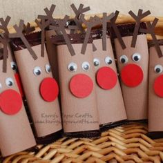 "Have your students create ""Rudolph"" reindeer using toilet paper rolls, wiggly eyes, and construction paper.  Use these reindeer on your Christmas bulletin board display to give it an eye-catching 3D effect."