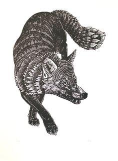 Black Fox Original Linocut Print, Black and White, Animal Print.. £50.00, via Etsy.