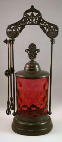 Antique Cranberry Glass Silver Plate Pickle Castor Art Nouveau Silverplate Claw