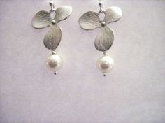 silver plated orchid earrings