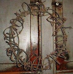 Primitive Rustic Barbed Wire Wreath Western Barb Door Decor | eBay