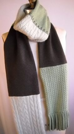 cashmere pieced scarf- made from upcycled sweaters!