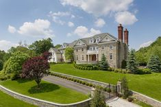 Stone Colonial style mansion in Chappaqua, New York
