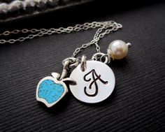 Christmas Gift for Teacher - personalized gift - Teacher's monogram - hand stamped jewelry - apple charm - sterling silver