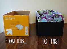Upscale an old box into a cute storage bin!