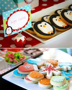 winter parties, idea, penguin cooki, birthday parties, birthdays, penguins, cookies, penguin party, christma