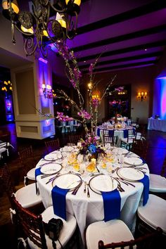 Blue and purple reception tables