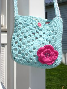 Crochet Granny Square Purse with Flower by SnJCrochet on Etsy, $20.00 squar purs, crochet granny squares, purs boutiqu, pretti purs, granni squar, granny square purse