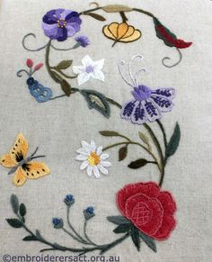Crewel Book cover stitched by Jilian Farrer - Embroiderers' Guild ACT
