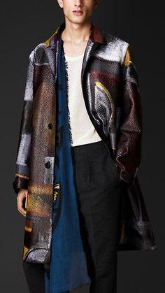 Burberry Prorsum Hand-Painted Leather Caban handpaint leather, altern fashion, burberri menswear