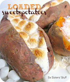 Loaded Baked Sweet Potatoes Recipe | Six Sisters' Stuff