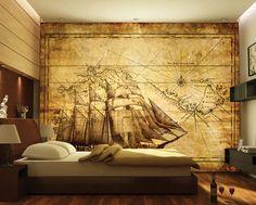 Antique sailor map wallpaper - a boys dream
