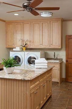 Laundry room - raised w/d & folding island