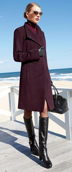 gorgeous coat and color and overall look (including hair) - though I wouldn't have worn shear pantyhose