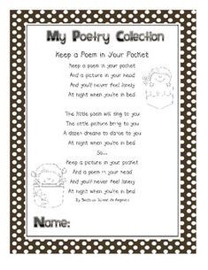 A collection of poems. Two {give or take} poems for each month.  Perfect to put in a binder for each student to read daily.  Space provided for stu...