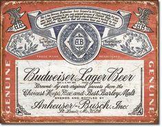 Budweiser Historic Label Tin Sign, $8.95