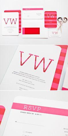 Modern wedding invitations.