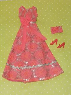 Vintage Barbie Clone HTF SHILLMAN CORAL SILVER EVENING DRESS PURSE & CORAL SHOES - sold for $50/ebay