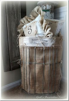 burlap lined vintage shopping cart