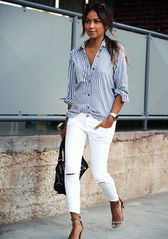 Striped top, white jeans