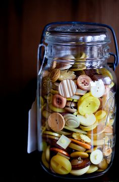 old Buttons stored in a Ball Jar...fond memories of my Mom, who used to do the same thing