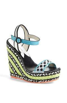 Sophia Webster High Wedge Sandal Turquoise 39.5 EU by: SOPHIA WEBSTER