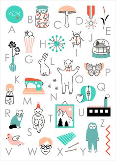 French abc poster alphabet - Audrey Jeanne - LAffiche Moderne