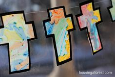 Melted Crayon Cross ~ Simple Easter Craft for kids.  Cross sun-catcher
