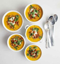 Spiced Carrot Soup with Roasted Chickpeas & Tahini