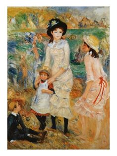 Children on the Seashore, Guernsey Giclee Print by Pierre-Auguste Renoir at Art.com