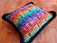 Basket Weave Crochet Pillow