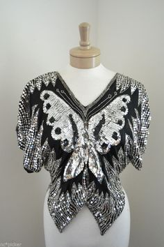 Sequin Black & Silver Butterfly Top Size Small