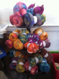 A woolly pile by Sara's textured craft at the woolly weekend